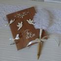 AJÁNDÉK TOLLAL Pajta rusztikus esküvői vendégkönyv jókívánság könyv fotóalbum  magyaros, Esküvő, Nászajándék, Meghívó, ültetőkártya, köszönőajándék, Festett tárgyak, Mindenmás,  MÁRCIUSBAN EZ A  VENDÉGKÖNYV MELLÉ EGY MARABUTOLLAL DÍSZÍTETT TOLLAT ADOK  AJÁNDÉKBA!  Legtöbbünk ..., Meska
