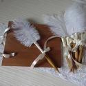 Esküvői toll Marabu tollal díszítve, Esküvő, Esküvői dekoráció, Meghívó, ültetőkártya, köszönőajándék, Csodás kiegészítője a rusztikus esküvőknek, valamint bármelyik stílussal kombinálható. A s..., Meska