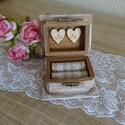 Rusztikus erdei esküvői gyűrűtartó fadoboz ékszerdoboz doboz ládika gyűrűpárna, Esküvő, Gyűrűpárna, Esküvői ékszer, Nászajándék, Festett tárgyak, Mindenmás, Vintage, rusztikus stílusban készült ez az  esküvői gyűrűtartó, melyet a gyűrűpárna helyett lehet h..., Meska