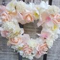 Shabby szív dekoráció 60 cm-es, Otthon, lakberendezés, Esküvő, Ajtódísz, kopogtató, Esküvői dekoráció, Virágkötés, Romantikus stílusú szív kopogtató, fali dekoráció. Akár esküvői dekorációnak is megfelel., Meska