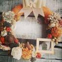 Őszi kopogtató , Dekoráció, Otthon, lakberendezés, Ajtódísz, kopogtató, Virágkötés, Őszi kopogtató 20cm-es alapra készítve., Meska