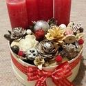 Advent box piros, Dekoráció, Otthon, lakberendezés, Asztaldísz, Virágkötés, 20 cm-es háncsdobozba készített adventi asztaldísz., Meska