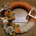 Őszi kopogtató, Dekoráció, Otthon, lakberendezés, Asztaldísz, Virágkötés, 20 cm-es alapra készített őszi ajtódísz., Meska