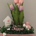 Tulipános láda rózsaszín, Dekoráció, Otthon, lakberendezés, Ajtódísz, kopogtató, Tulipános asztaldísz., Meska