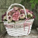 Rózsa kosár-fehér, Otthon & lakás, Lakberendezés, Asztaldísz, Virágkötés, Nagyon szép rózsa kosár kiváló ajándék bármilyen alkalomra., Meska