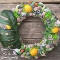 Citromos pálma ajtódísz, Otthon, lakberendezés, Dekoráció, Ajtódísz, kopogtató, Virágkötés, 35cm-es ajtódísz termésekkel kirakva. Az idei nyár slágere a pálma és a citrom egy ajtódíszen ötvöz..., Meska
