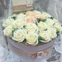 Rózsa box, Esküvő, Otthon, lakberendezés, Esküvői dekoráció, Asztaldísz, Virágkötés, Mérete: 30 cm Esküvőre vagy bármilyen alkalomra  tökéletes. Más méretben, színben is kérhető. A róz..., Meska