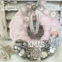 Szőrmés ajtódísz-rózsaszín, Dekoráció, Karácsonyi, adventi apróságok, Otthon, lakberendezés, Ünnepi dekoráció, Karácsonyi dekoráció, Ajtódísz, kopogtató, Mérete: 22cm, Meska