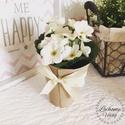 Ibolya cserepes fehér, Dekoráció, Otthon, lakberendezés, Asztaldísz, Virágkötés, Mérete: 13cm A virágok nem élőek.  Felirat kérhető rá., Meska