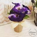 Ibolya cserepes lila, Dekoráció, Otthon, lakberendezés, Asztaldísz, Virágkötés, Mérete: 13cm A virágok nem élőek.  Felirat kérhető rá., Meska