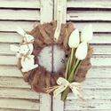 Vintage húsvéti ajtódísz, Dekoráció, Otthon, lakberendezés, Ajtódísz, kopogtató, Virágkötés, Mérete: 24cm, Meska