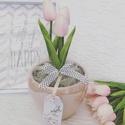 Tulipános dísz, Anyák napja, Otthon, lakberendezés, Asztaldísz, Virágkötés, Mérete: 30x14cm A tulipán nem élő., Meska