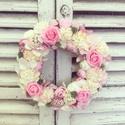 Virágos ajtódísz, Otthon, lakberendezés, Ajtódísz, kopogtató, Mérete: 23cm, Meska