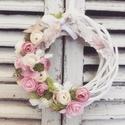 Virágos ajtódísz, Otthon, lakberendezés, Ajtódísz, kopogtató, Mérete: 20cm, Meska