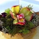 Cymbidium agyag orchidea csónakban, Képzőművészet, Szerelmeseknek, Dekoráció, Férfiaknak, Festészet, Szobrászat, 1 fej cymbidium agyag orchidea melynek átmérője kb. 7 cm. A csónak mérete változó, 1 fejes virágdís..., Meska