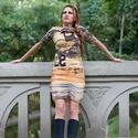 Feliratos drapériás ruha, Ruha, divat, cipő, Női ruha, Varrás, Drappos-mogyoró színű bélelt ruha. Hossza térd fölött ér,ujja könyékig ér.Mérete: 36/38-as. A ruha ..., Meska