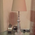 Bézs pöttyös asztali lámpa, Otthon, lakberendezés, Lámpa, Asztali lámpa, Hangulatlámpa, Mindenmás, Modern, klasszikus, vintage, design, egyedi lámpaernyő, gyönyörű faragott lámpatalppal. Anyaga: Mod..., Meska