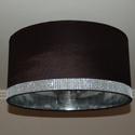 Elegáns lámpaernyő, Otthon, lakberendezés, Lámpa, 40 cm átmérőjű, egyedi lámpaernyő. Palástmagasság 20 cm. Borítása szatén selyem, strassz ..., Meska