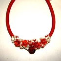 Piros fehér gyöngyös nyakék, Ékszer, Nyaklánc, Piros és fehér  gyöngyök felhasználásával készül ez a kedves, vidám nyári nyakék. Hossza..., Meska