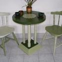 Vintage reggeliző szett, Bútor, Otthon, lakberendezés, Asztal, Szék, fotel, Famegmunkálás, Festett tárgyak, Két személyes reggeliző szett, ami áll két bonanza székből és egy thonet asztalból. Kréta festékkel..., Meska