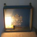 Vintage falra szerelhető  fiók, világítással , Bútor, Otthon, lakberendezés, Asztal, Szék, fotel, Famegmunkálás, Festett tárgyak, Kréta festékkel festettem, waxoltam és  stencileztem ez a fiókot. Bele szereltem egy retró lámpást ..., Meska