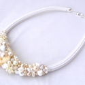 Hófehér  esküvő gyöngy nyakék, Hófehér kagyló és üveg, kerámia  harmonikus ...
