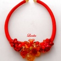 Piros nyakék, Ékszer, Nyaklánc, Gyönyörű piros, világos gyöngyökből komponáltam ezt a nyakéket  Nyakék hossza 46 cm , Meska