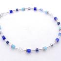 Cube kék kristályos kocka nyaklánc , Csodás csillogás, kristályok  6mm-es kék macsk...