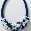 Kék fehèr gyöngy nyakèk jade gyöngyökkel, Festett jade gyöngyökből komponáltam ezt a nya...