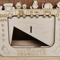 Születési képkeret , Otthon & Lakás, Dekoráció, Képkeret, Famegmunkálás, Saját készítésű 3mm-es nyír rétegelt lemezből készült asztali képkeret születési adatokkal.   Méret..., Meska