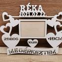 Születési emlék , Otthon & Lakás, Dekoráció, Képkeret, Famegmunkálás, Saját készítésű 3mm-es nyír rétegelt lemezből készült. Mérete:30x25 cm-es, 9x13-as kép való a keret..., Meska