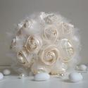 """""""Rosa""""  -  textilrózsákból készült ekrü menyasszonyi csokor, Esküvő, Esküvői csokor, Varrás, Saját kézműves textilrózsákból készítettük  ezt az egyszerűségében elbűvölő,  ugyanakkor nagyon ele..., Meska"""