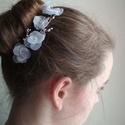 """""""Fiorella""""  -  virágos-gyöngyös hajdísz , Esküvő, Hajdísz, ruhadísz, Esküvői ékszer, Varrás, Ékszerkészítés, Saját készítésű textilvirágokból és cseh kristálygyöngyökből készült ez a légies és elegáns alkalmi..., Meska"""