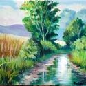 A kispatak, Képzőművészet, Festmény, Festészet, A kis patak című kép egy hegyvidéki fennsíkot ábrázol melyet egy sáros kis patak szel át elvétve fá..., Meska