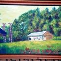 Erdei tisztás, Képzőművészet, Festmény, Olajfestmény, Festészet, A kép egy erdei tisztást ábrázol kempinges faházakkal kellemes természeti környezetben Salgótarján ..., Meska