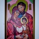A szent család, Képzőművészet, Festmény, Akril, A kép egyedi akrilfesték technikával készült alapozott farost lemezre. A szent családot ábrá..., Meska