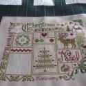 Karácsonyi hímzett kép, A kedves karácsonyi minta keresztszemes hímzéss...
