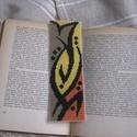 Könyvjelző, Naptár, képeslap, album, Könyvjelző, Modern montájú, az ősz színeit idéző könyvjelző,akár férfiaknak is. Keresztszemes hímzéssel készült...., Meska