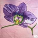 Orchidea kendő, Ruha, divat, cipő, Kendő, sál, sapka, kesztyű, Kendő, Ez az orchideát ábrázoló kendő egy kis vidámságot csempész a szürke, téli hétköznapokba. Körvonalát ..., Meska
