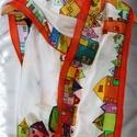 Hundertwasser ihlette selyemsál, Ruha, divat, cipő, Kendő, sál, sapka, kesztyű, Sál, A képen látható színes, vidám selyemsál elkészítéséhez Hundertwasser képei adtak ötletet.  Vettem há..., Meska