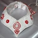 Piros-fehér menyasszonyi sujtás nyakék, Ékszer, Esküvő, Nyaklánc, Esküvői ékszer, Ez a nyakék nagy gonddal, sok-sok óra alatt készült el és várja azt a merész menyasszonyt, akinek ny..., Meska