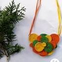 Őszi színkavalkád – sujtás nyaklánc, Ékszer, Nyaklánc, A narancs, citrom és a sötétzöld színeknek köszönhetően igazán őszies hangulatú nyaklánc született. ..., Meska