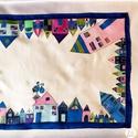 Hundertwasser ihlette selyemsál - kék, Táska, Divat & Szépség, Sál, sapka, kesztyű, Ruha, divat, Sál, A képen látható színes, vidám selyemsál elkészítéséhez Hundertwasser képei adtak ötletet. A sál mint..., Meska