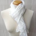 fehér selyemsál, Ruha, divat, cipő, Női ruha, Selyemfestés, Az örök klasszikus..  Tisztaselyem, kb. 40x150 cm.  Nagyon mutatós, kellemes, pihekönnyű viselet,  ..., Meska