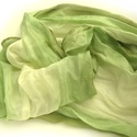 """""""zöld szellő"""" selyemsál, Ruha, divat, cipő, Női ruha, Selyemfestés, Leheletfinom zöldek, kis barnás széllel, natúrbézs középpel..Finom sál finom hölgyeknek:-)  .Valódi..., Meska"""