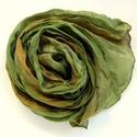 """""""erdei emlék"""" selyemsál , Ruha, divat, cipő, Női ruha, Selyemfestés, Kellemes középvilágos kompozíció meleg árnyalatú zöld és barna """"közreműködésével"""". Valódi tisztasel..., Meska"""