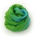 zöld+türkiz selyemsál , Ruha, divat, cipő, Női ruha, Üde, élénk színű sál - ezúttal egy különleges párossal:-)...Tisztaselyem, kb. 40x150 cm.  Nagyon mut..., Meska