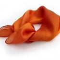 """""""narancs"""" kis selyemkendő, Ruha, divat, cipő, Női ruha, Selyemfestés, Élénk, vidám kis kendő; telt narancs-szín..  Valódi tisztaselyem, kb. 55x55cm.  Nagyon mutatós, kel..., Meska"""