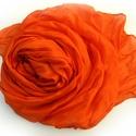 """""""narancs"""" selyemsál , Ruha, divat, cipő, Női ruha, Selyemfestés, Üde, élénk színvitamin; telt színét többszöri fetésnek köszönheti..Tisztaselyem, mérete: kb 40x150 ..., Meska"""