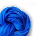 kék  selyemsál stóla méretben, Ruha, divat, cipő, Női ruha, Élénkebb, tiszta árnyalat a kékek szerelmeseinek. Az anyag ugyanaz, tisztaselyem,a méret viszont 90x..., Meska